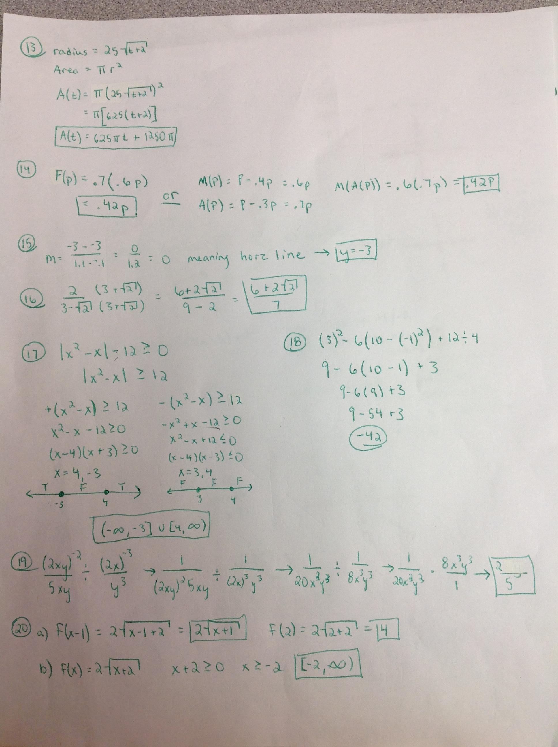 College Algebra THSCollegeAlgebra – College Algebra Worksheets